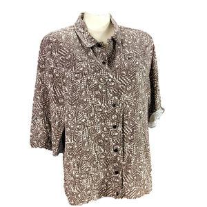 Brown & Tan Snap Front Jacket~Roll Tab Linen Shirt